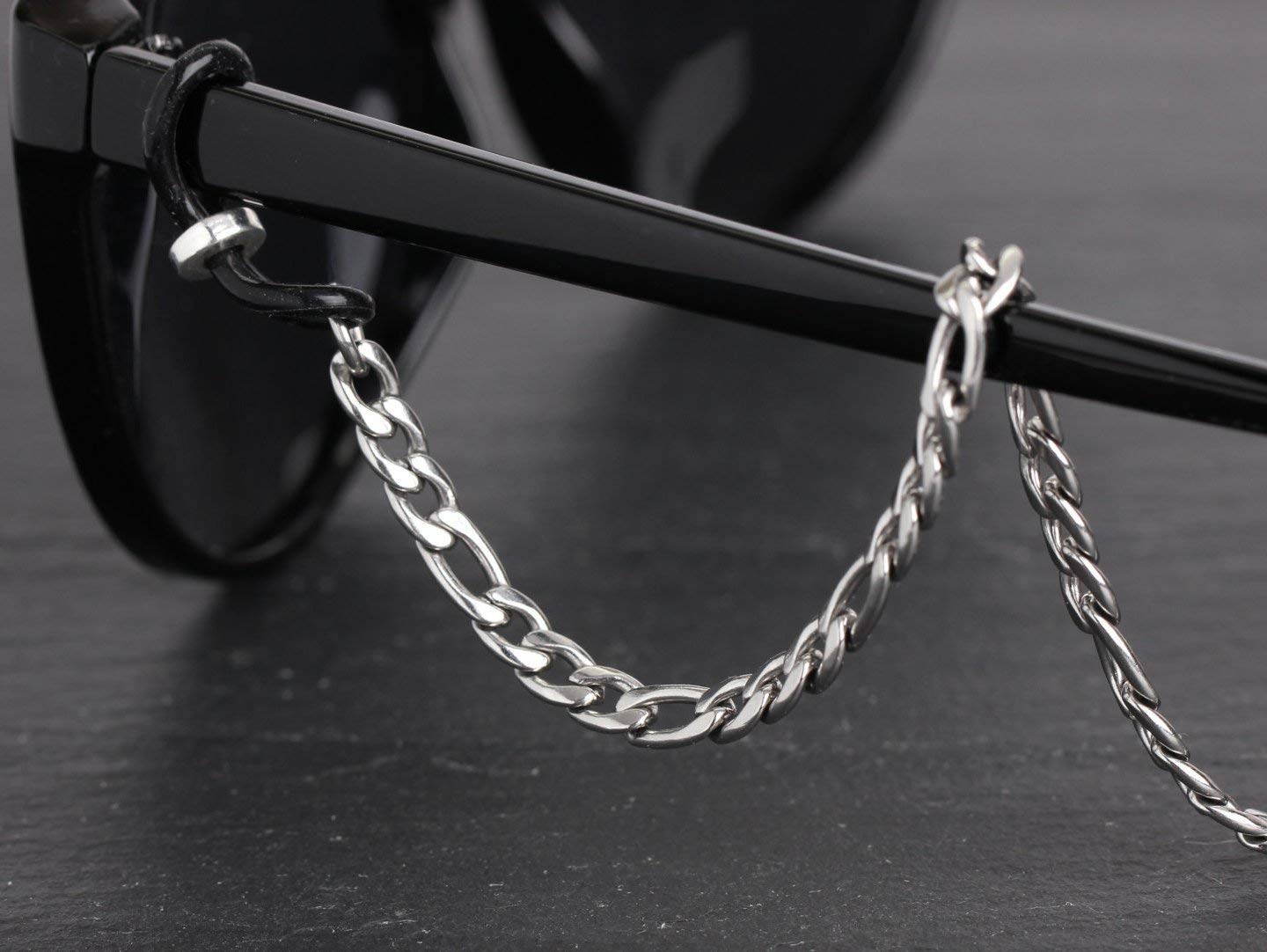 Heavy Duty Stainless Steel Eyeglass Chain, Silver Figaro Chain Glasses Rope, Metal Sunglasses Cord Neck Strap, Men's Eyeglass Holder for Readers, Half Snow, 26 inches