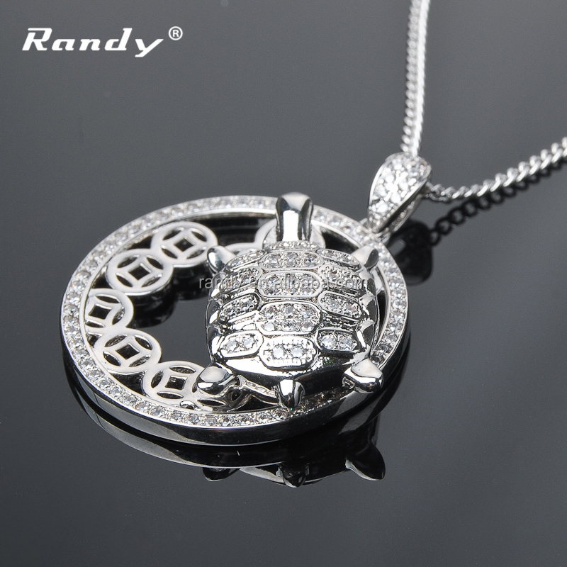 White Gold Full Neck Covering Necklace Design Platinum Turtle Pendant Necklace