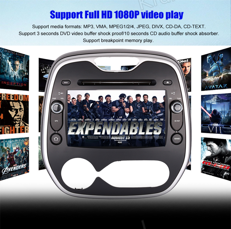 Krando Android 7.1 8'' car dvd multimedia player for Renault Captur Clio Samaung Qm3 2011+ gps navigation system KD-RC811