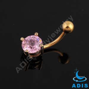 Round cubic zircon prong setting gold plated belly button ring navel piercing jewelry
