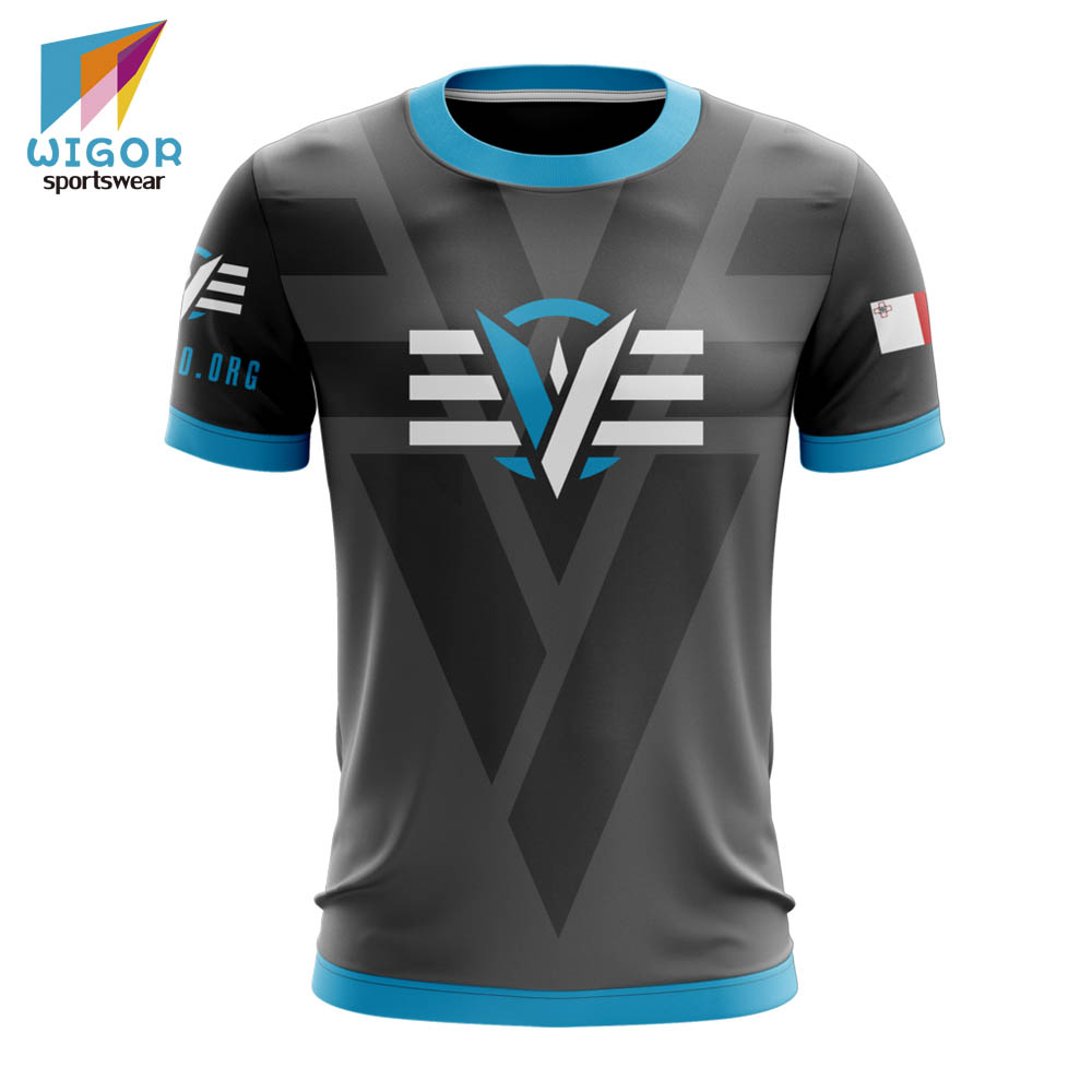 Design Your Own Cool Tee Full Sublimation Printing Custom Mens <strong>E</strong>-sports Shirt