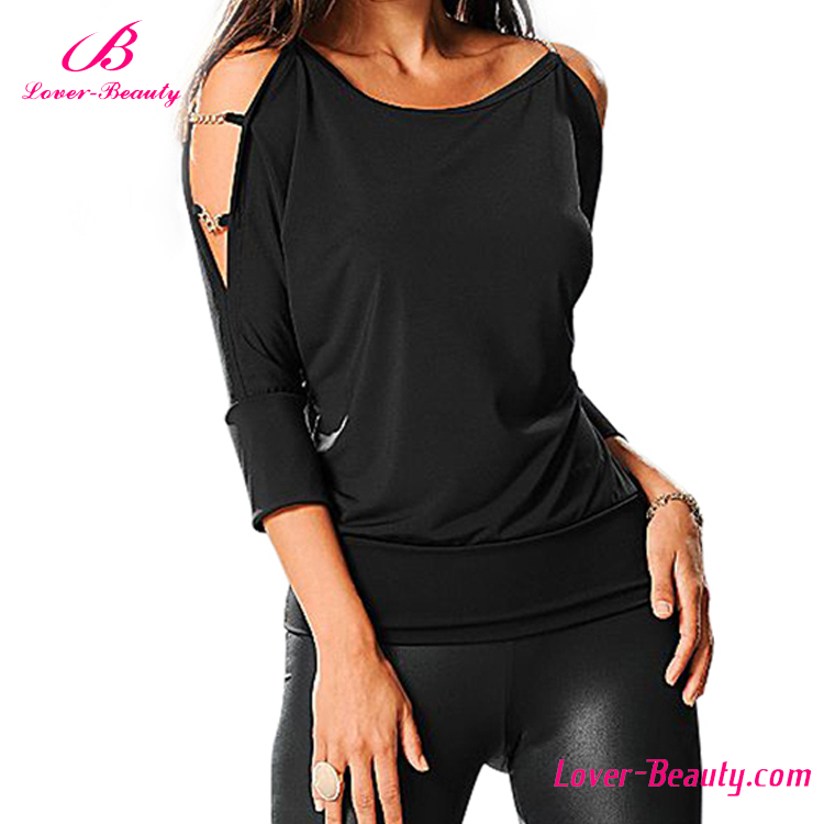 Neue design O neck aushöhlen long sleeve dame shirt blusen