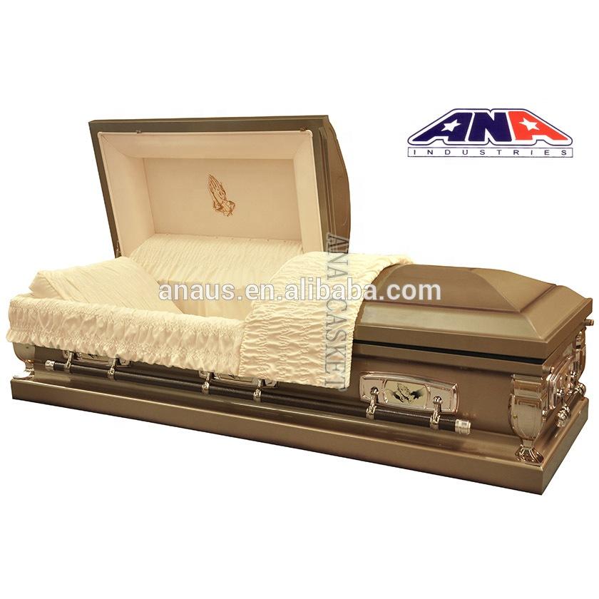 Good Intelligent factory manufacturer ANA funeral supplies praying hands American style 20ga steel metal casket coffin