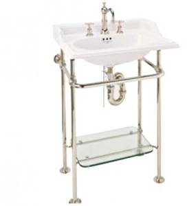 Buy Bath Fixtures Finished Brass Washstand With Glass Shelf Satin - Where to buy bathroom fixtures