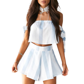 23a8ae0bda7 New Women Summer Stripe Playsuit Off Shoulder bow sleeve Two Piece Overalls  Rompers Yellow Light Blue