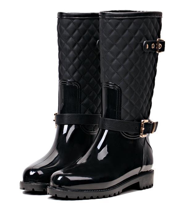 Stylish winter women rain boots black top pu leahter boots