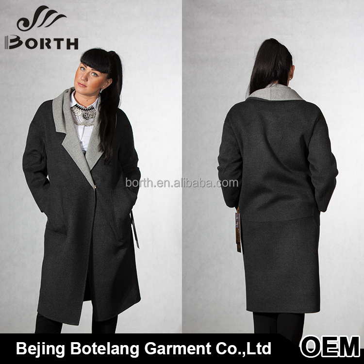 2016 Latest customized color long style autumn winter Dark Gray green camel pink Women cashmere Wool Coat jacket