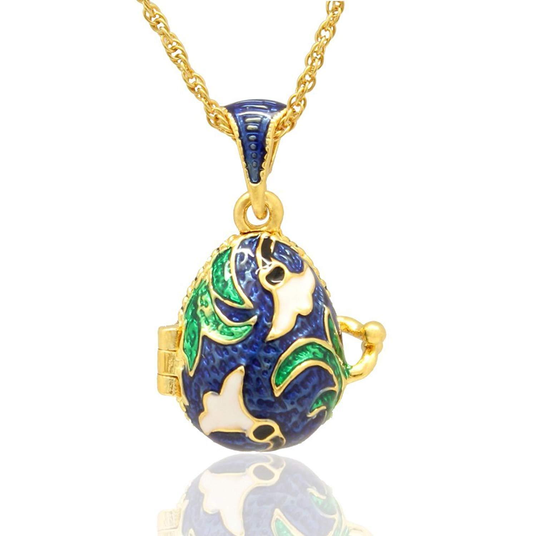 MYD Jewelry Hand Enameled Stylish Flower Faberge Egg Locket Pendant Necklace