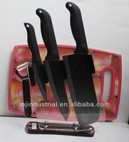 "Classical 6 piece kitchen ceramic knives set, 4"" steak 6"" Chef 7"" chopper peeler with acrylic stand and plastic cutting board"