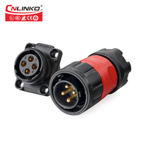 CNLINKO Current Rated 20a IP65 waterproof 4 Pin Power Connector Plastic electrical plugs sockets