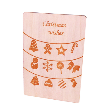 OEM Laser Cut Handmade Wooden Best Wishes Christmas Greeting Card