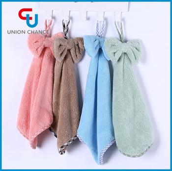 wholesale cute bow tie hanging microfiber custom hand towel kitchen