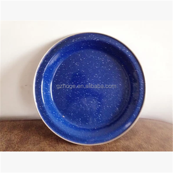 Customized Promotion Carbon Steel Plates White Dot Blue Enamel