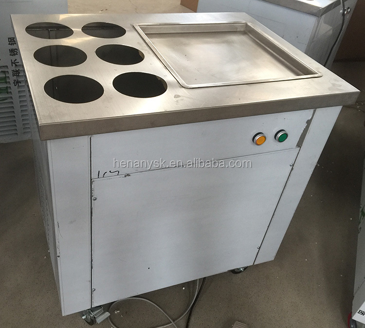 8-10L/H 1pan Ice Pan Fryer Rolling Fried Yogurt Frying Fried Ice Cream Roll Machine Roller Maker