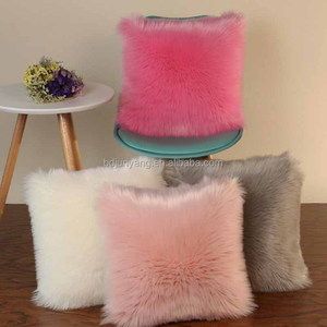 Custom fake fur sheepskin pillow covers throw pillow for sofa decorative faux fur pillow
