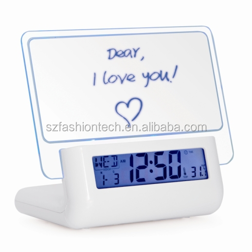 Newest Talking Message Board LCD Clock with LED backlight / LCD calender with USB hub