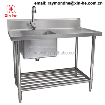 Commercial 2 Two Compartment Sink with Drainboard, Stainless Steel Double Catering Kitchen Sink Work Bench Table with Undershelf