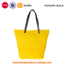 Highly Recommended New Design Trendy Daily Common Genuine Suede Yellow Handbag for Girls