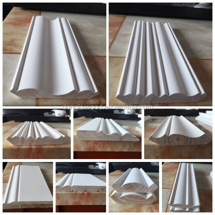 House decoration white primer Radiata pine ceiling moulding