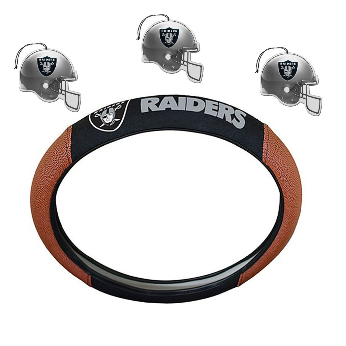 NFL Fan Shop Auto Bundle. Premium Pigskin Leather Accented Steering Wheel Cover with Embroidered Team Name and Logo along with a 3-Pack of Team Helmet Air Fresheners (Oakland Raiders)