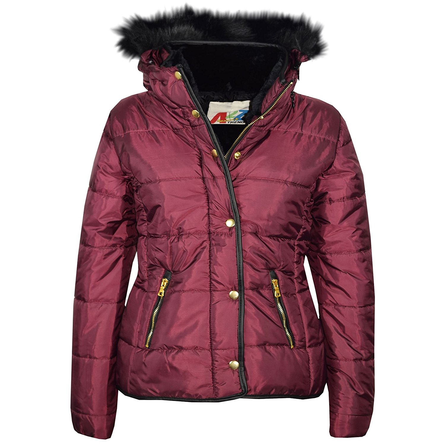 59e0ffffb Get Quotations · A2Z 4 Kids® Girls Jackets Kids Wine Padded Puffer Bubble  Faux Fur Collar Quilted Warm