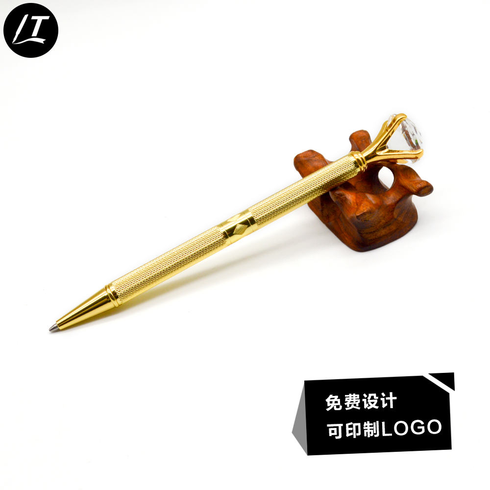 2018 New Luxury Gold Large Diamond Pen Twist Ballpoint Pen