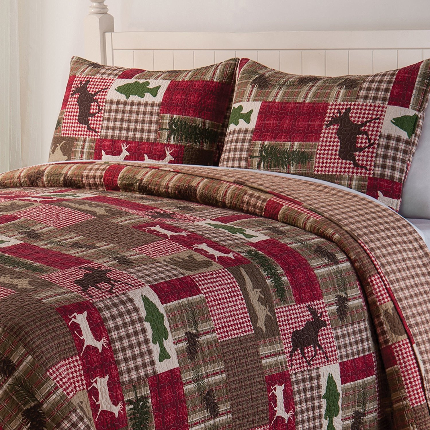 OS 3 Piece Green Red Brown Moose Deer Hunting Themed King Quilt Set, Cabin Themed Bedding Southwest Fish Plaid Checked Patchwork Wildlife Country Lodge Animal White, Cotton