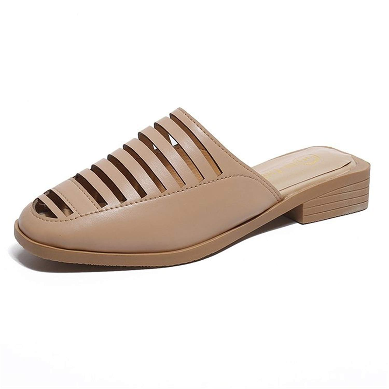 set adil Women's Flat Fur Slippers Ladies Sandals Leather Peep Toe Slide Mules Shoes with Low Heel Rhinestone