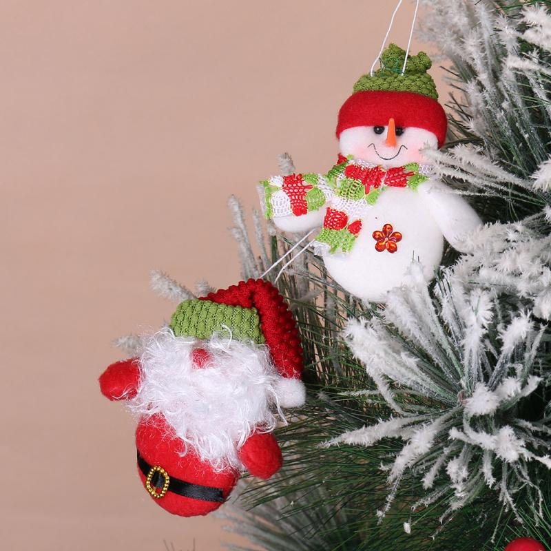 One Pair Christmas Decoration Home Santa Claus Snowman Pendant Xmas Tree Hanging Gifts