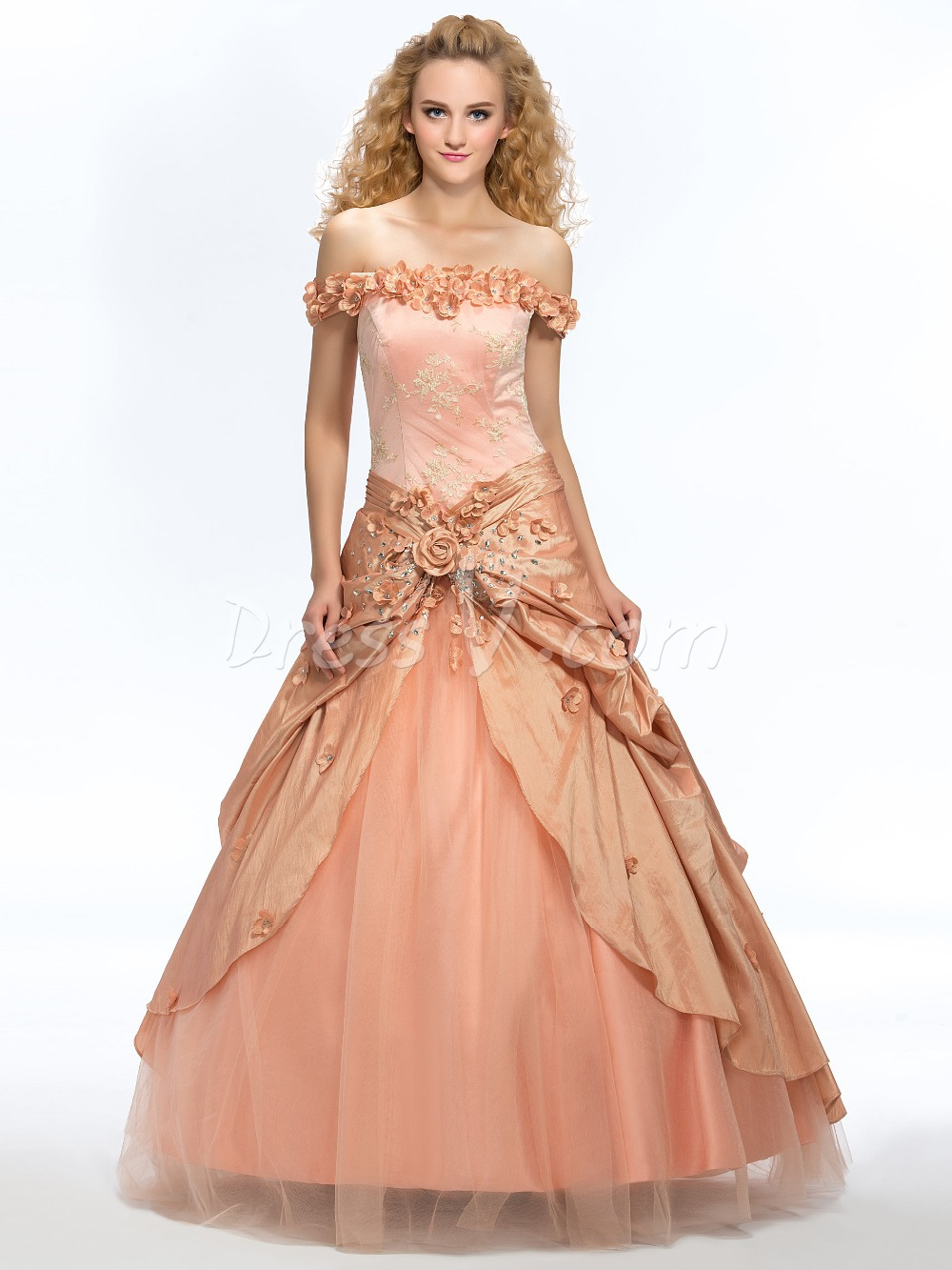 fb5ba008e Get Quotations · Elegant Champagne Ball Gown Quinceanera Dresses 2015 Sexy  Off-the-Shoulder Lace Floral Puffy