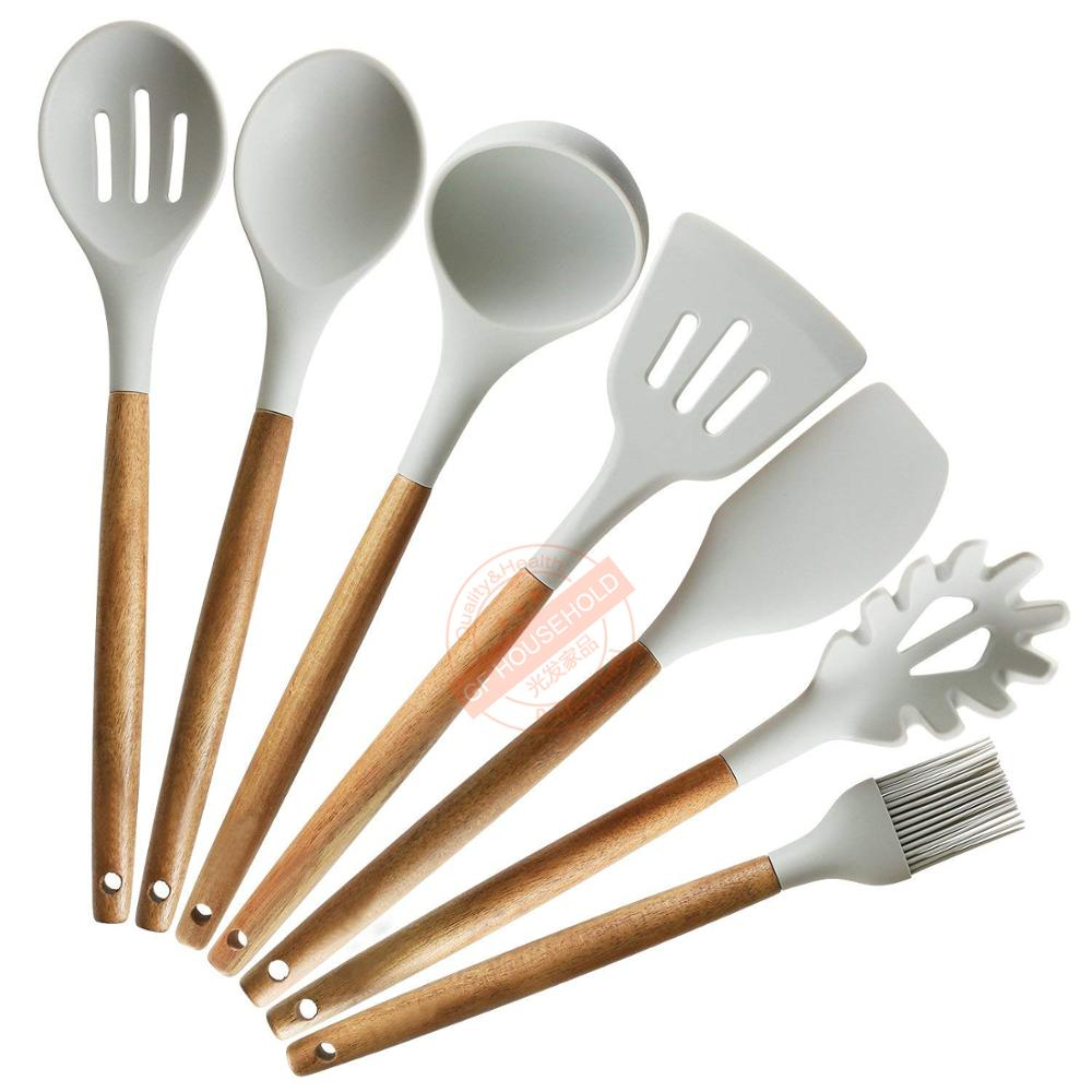 7pcs Nonstick Kitchen Utensil <strong>Set</strong> With Natural Acacia Wood Handle