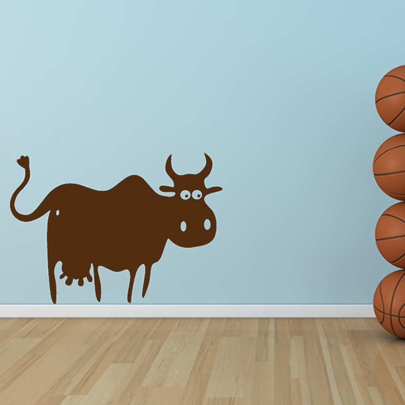 Simple Design Cow Wall Decal Removable Vinyl Adhesive Home Decor Cartoon Wall Stickers For Kids Rooms