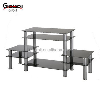 Modern Black Glass Tv Stand Rack Storage Shelf Buy Tv Stand