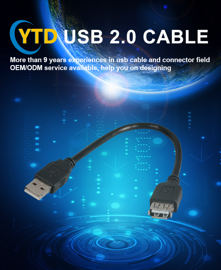 2017 Hot selling new project male usb 2.0 to female usb 2.0 cable