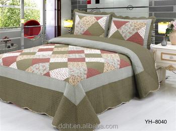 Pink & Army Green Flower Tartan Patchwork Quilts / Patchwork ... : tartan patchwork quilt - Adamdwight.com