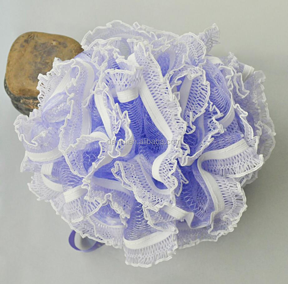 PE Mesh Colored Flowers Ball Plastic Bath Loofah