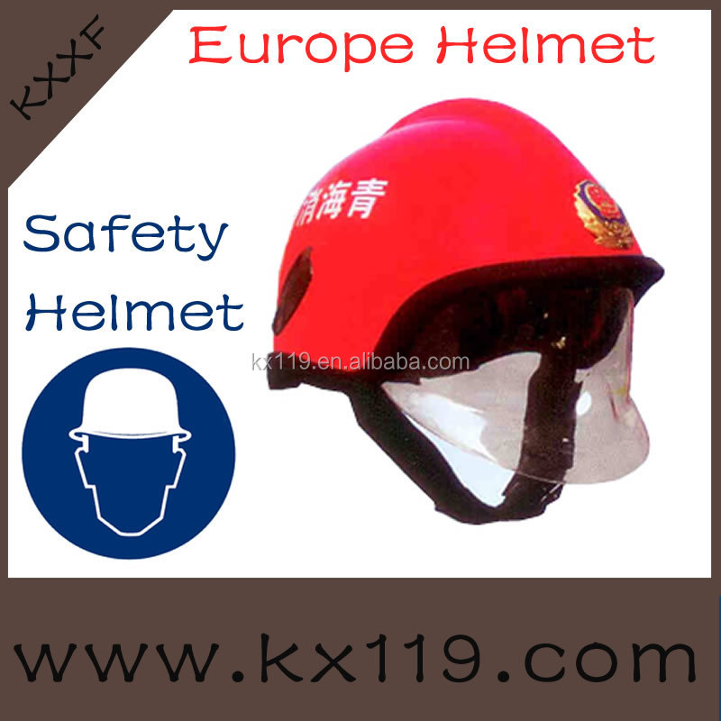 2014 New Product Red Europe fire helmet with glass faiber