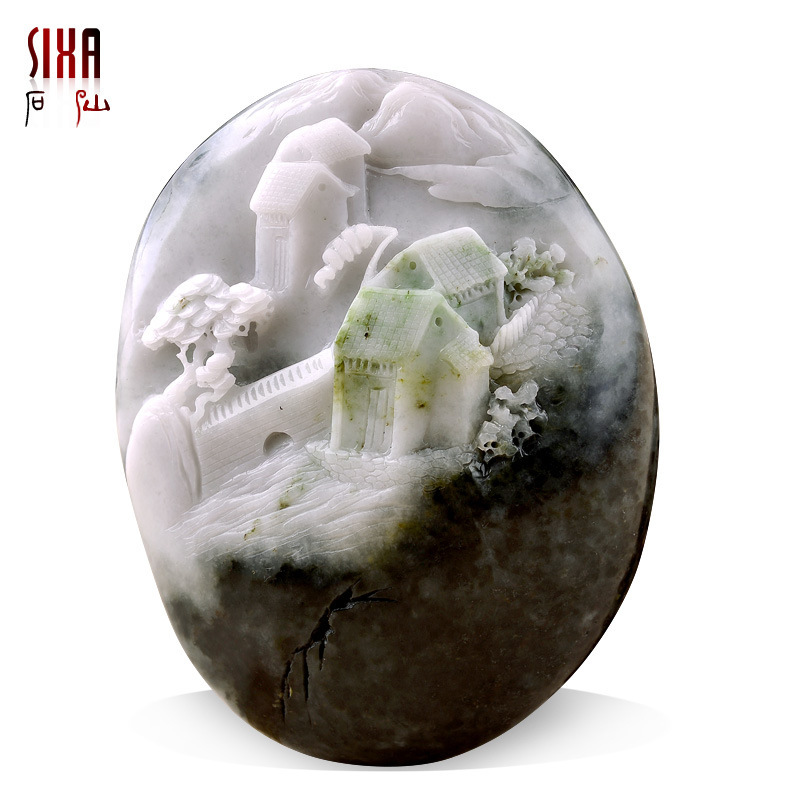 Shixian natural authentic landscapes Nanyang Dushan Dushan jade desk ornaments smooth sailing 6402 hand to hand playing pieces