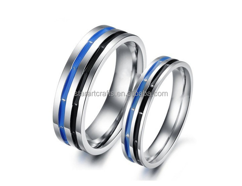 Wholesale 316L stainless steel ring/enamel black and blue ring/simple artificial lovers ring