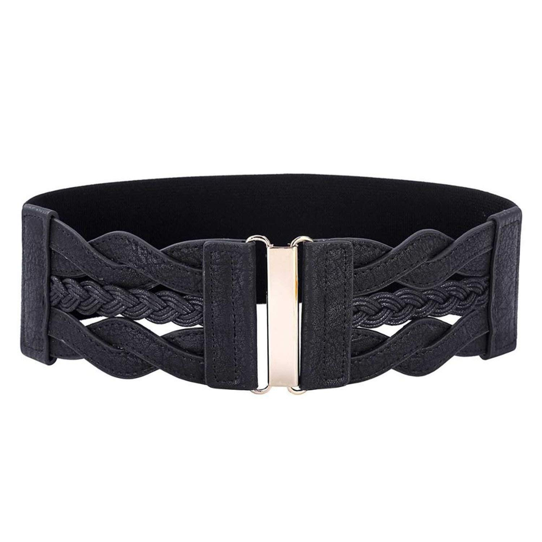 8f900c920eacb Get Quotations · Prettyever Fashion Women Ladies Braided Leather Elastic  Waist Belt Waistband Womens Brown Belt