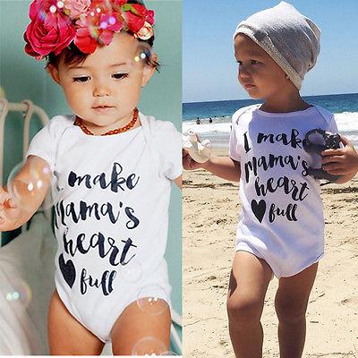 2016 Newborn Baby Clothing 0 24M Toddle Kids Boys Girls Summer Short Sleeve Bodysuit Casual Baby