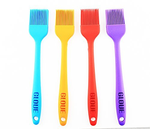 GLOUE Silicone Pastry Brushes Set - Silicone Grill Barbecue Brush - 4-piece 450oF Heat - Ergonomic Easy-to-Clean Seamless One-Piece Design - Nonstick - Dishwasher Safe - Solid Stainless Steel