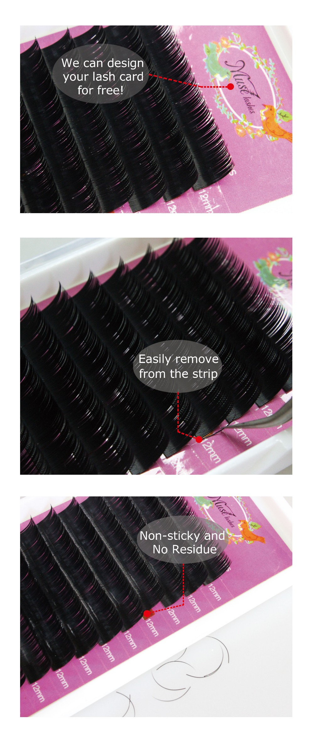 Best Quality individual faux mink eyelashes extension PBT korea fiber silk lashes OEM Available