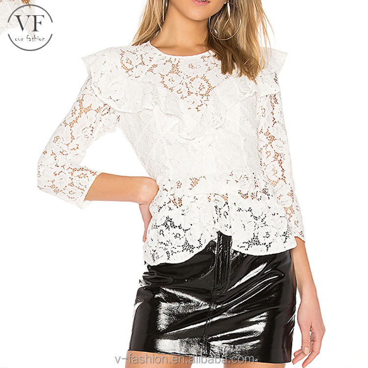 New fashion white long sleeve lace ruffle tops
