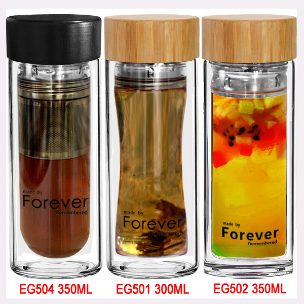 Wholesale hot sale easy taking wood lid glass water bottle with decal logo