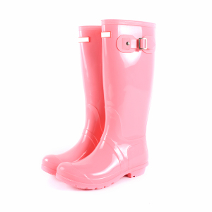 Colourful clear shiny half pvc rain boots women wellington