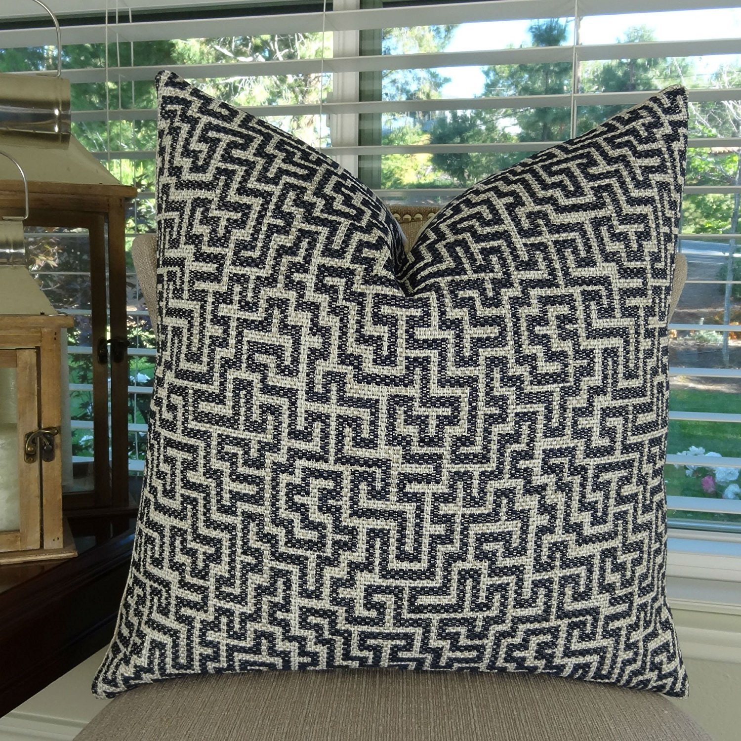 Thomas Collection Navy Pillow - Navy Ivory Taupe Throw Pillow - Navy Geometric Pillow - Navy Ivory Taupe Patterned Accent Pillow - Geometric Pillow, Made in US, 11424