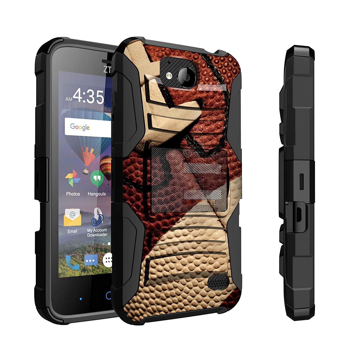 Untouchble Case for ZTE Majesty Pro Case, ZTE Majesty Pro Plus Case [Heavy Duty Clip] Dual Layer Hybrid Belt Clip Kickstand Cover Rugged - Football