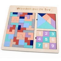 Free Sample Educational T shape tangram Kids Building Block Wooden Tetris Puzzle Game
