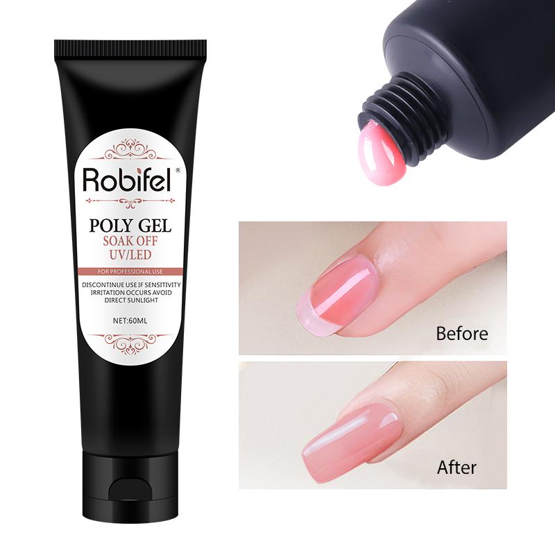 Robifel nuovi prodotti 26 colori soak off 30g/60g gel UV poli del gel del costruttore in tubo packager